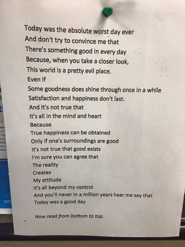 Reverse poem